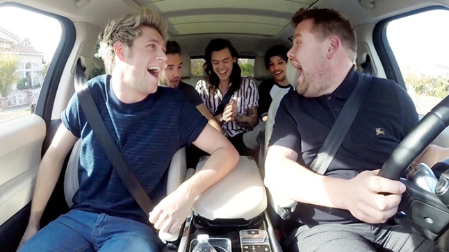 """One Direction joins James Corden for Carpool Karaoke on """"The Late Late Show with James Corden,"""" airing Tuesday, December 15th, 2015 (12:37 -- 1:37 AM, ET/PT) on The CBS Television Network. Photo: CBS ©2015 CBS Broadcasting, Inc. All Rights Reserved"""